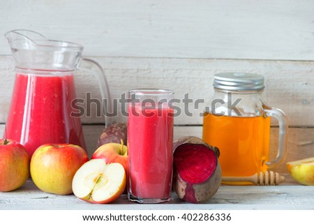 Red detox with beetroot, apple and honey - stock photo