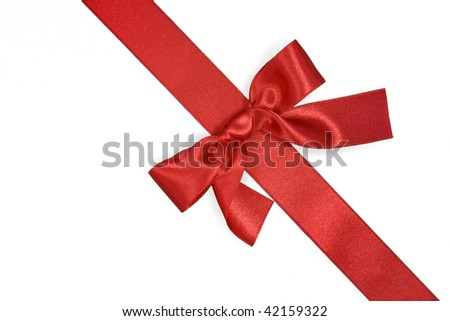 red diagonal ribbon with bow isolated on white