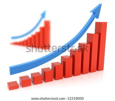 Red diagram with one rising blue arrow over white - stock photo
