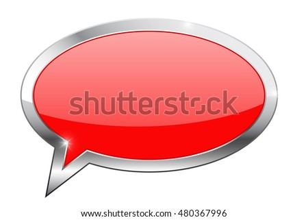 Red dialog bubble icon. Illustration isolated on white background. Raster version