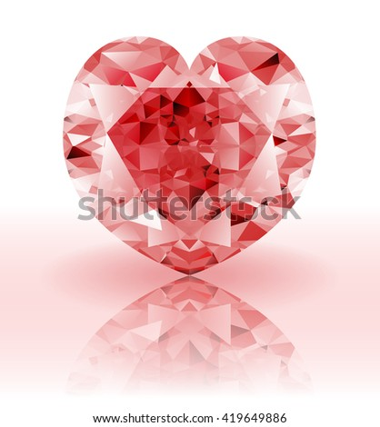 Red Diamond, heart shaped ruby gemstone on a white background with reflection. Raster version  - stock photo