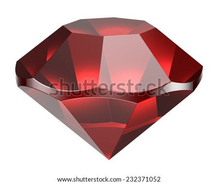 Red diamond on a white background - stock photo