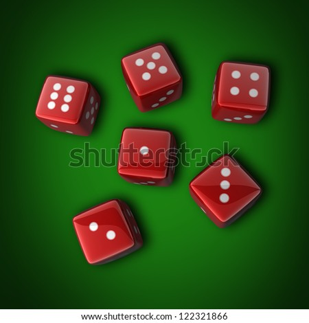 red dice on the green background 3D High resolution