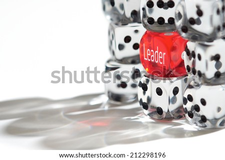 Red Dice Standing out from the crowd, Leader concept. - stock photo