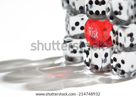 Red Dice Standing out from the crowd, Risk Management concept. - stock photo
