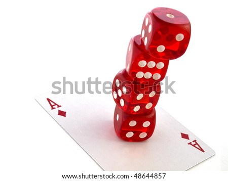 Red dice with cards on white isolated background - stock photo
