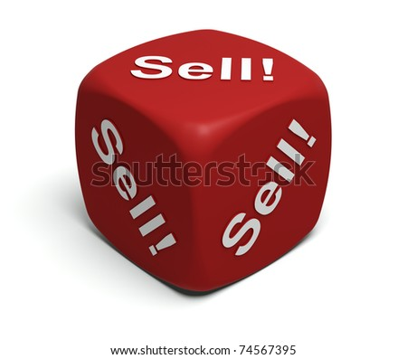 Red Dice with every seller's motto Sell! Sell! Sell! - stock photo