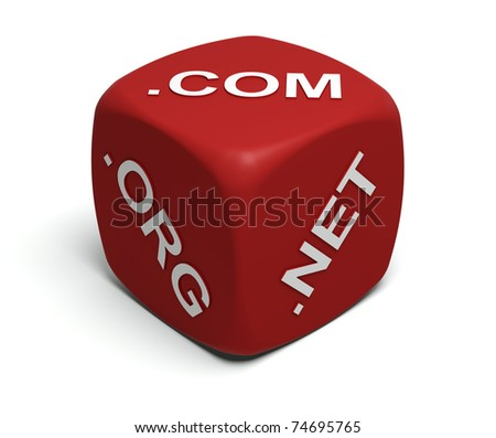 Red Dice with Internet domain names on faces - stock photo