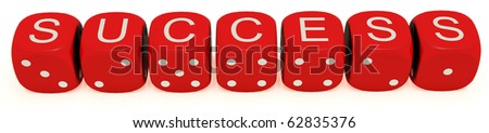 "Red dice with labeled ""success"" on the upper plane - stock photo"