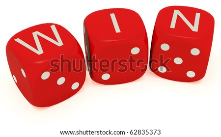 "Red dice with labeled ""win"" on the upper plane - stock photo"