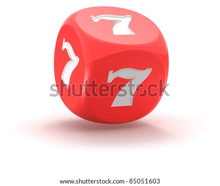Red dice with lucky seven on the white background - stock photo