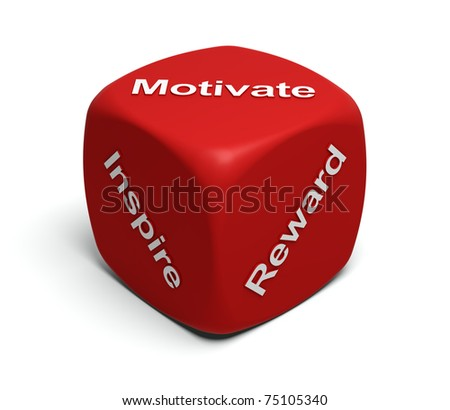 Red Dice with words Inspire, Motivate, Reward on faces - stock photo