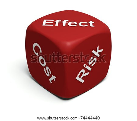 Red Dice with words Risk, Cost, Effect on faces
