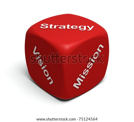 Red Dice with words Vision, Mission, Strategy on faces - stock photo