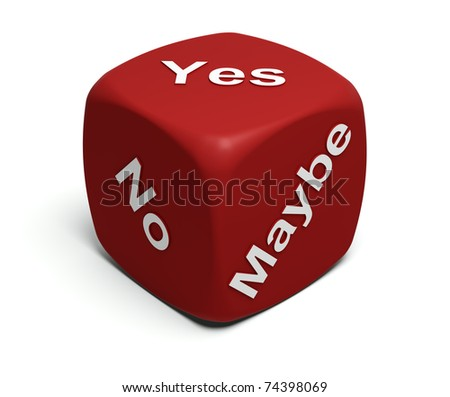 Red Dice with words Yes, No, Maybe on faces - stock photo