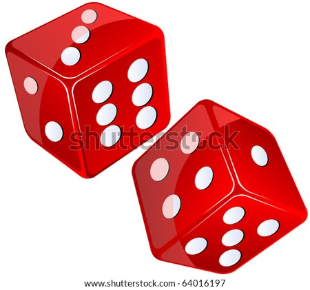 red dices, isolated objects against white background - stock photo