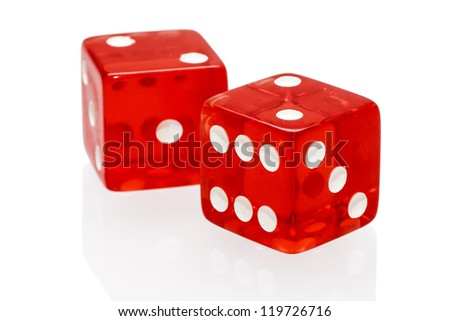 Red dices isolated on a white background - stock photo