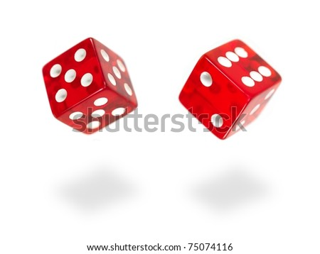 Red die isolated against a white background - stock photo