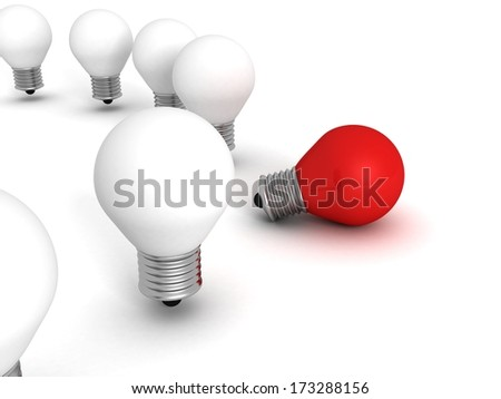 Red different idea light bulb lamp out from white crowd - stock photo