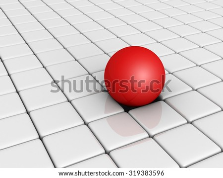 Red Different Sphere Among White Cube Blocks. 3d Render Illustration - stock photo