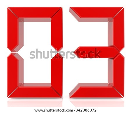 Red digital numbers 03 on white background 3d rendering - stock photo