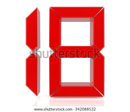 Red digital numbers 18 on white background 3d rendering - stock photo