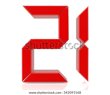 Red Digital Numbers 21 On White Stock Illustration ...