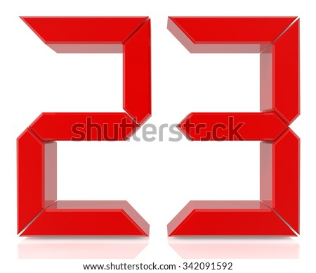 Red digital numbers 23 on white background 3d rendering - stock photo