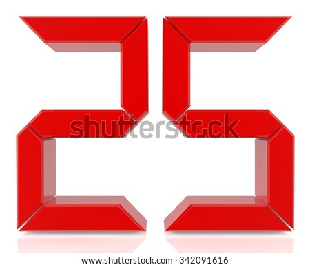 Red digital numbers 25 on white background 3d rendering - stock photo