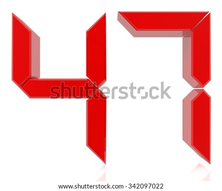 Red digital numbers 47 on white background 3d rendering - stock photo