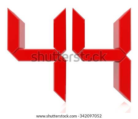 Red digital numbers 44 on white background 3d rendering - stock photo