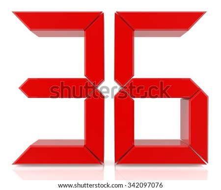 Red digital numbers 36 on white background 3d rendering - stock photo