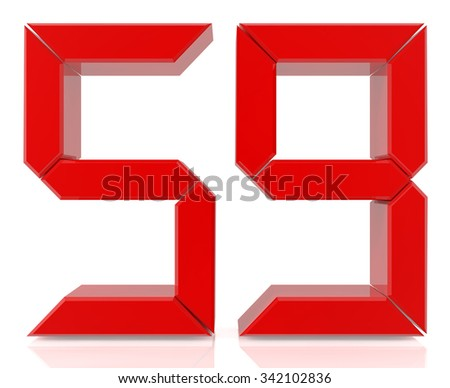 Red digital numbers 59 on white background 3d rendering - stock photo