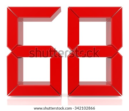 Red digital numbers 68 on white background 3d rendering - stock photo