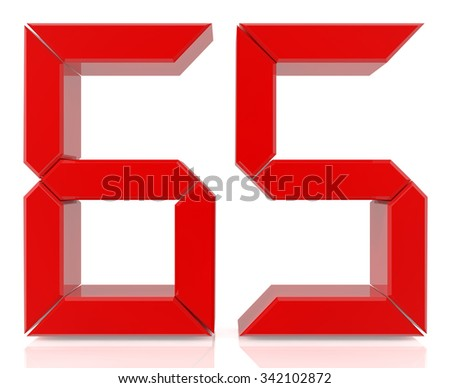 Red digital numbers 65 on white background 3d rendering - stock photo