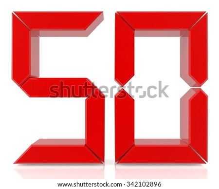 Red digital numbers 50 on white background 3d rendering - stock photo