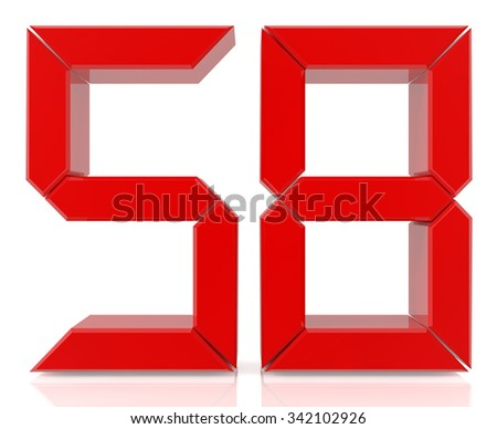 Red digital numbers 58 on white background 3d rendering - stock photo