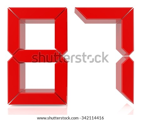 Red digital numbers 87 on white background 3d rendering - stock photo