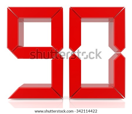 Red digital numbers 90 on white background 3d rendering - stock photo