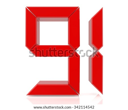 Red digital numbers 91 on white background 3d rendering - stock photo