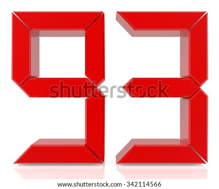 Red digital numbers 93 on white background 3d rendering - stock photo