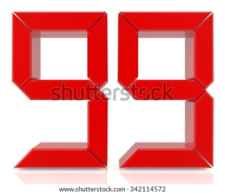Red digital numbers 99 on white background 3d rendering - stock photo