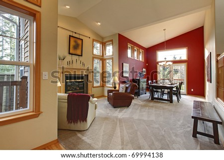 Red Dining Room With Living Room