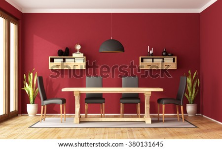 Red Dining Room With Rustic Table And Modern Chair   3D Rendering
