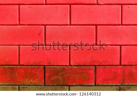 Red dirty brick wall