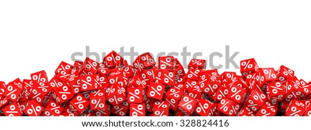 Red discount cubes. 3D illustration. - stock photo