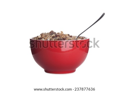 red dish with cereals isolated on white background - stock photo