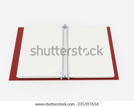 Red documents folder book rendered on white background