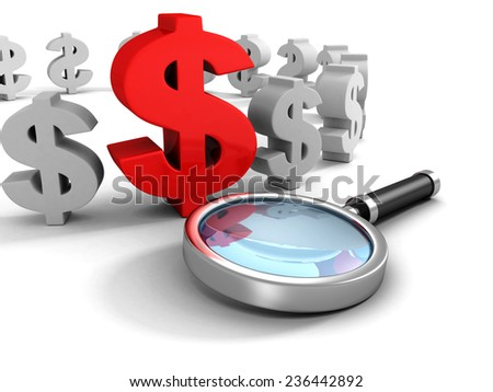 red dollar currency symbol with magnifier glass. 3d render illustration - stock photo