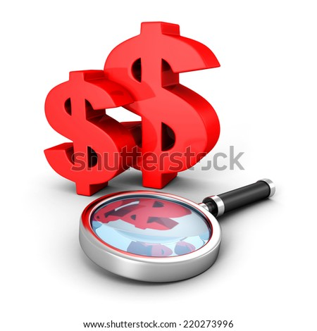 red dollar currency symbols with magnifier glass. 3d render illustration